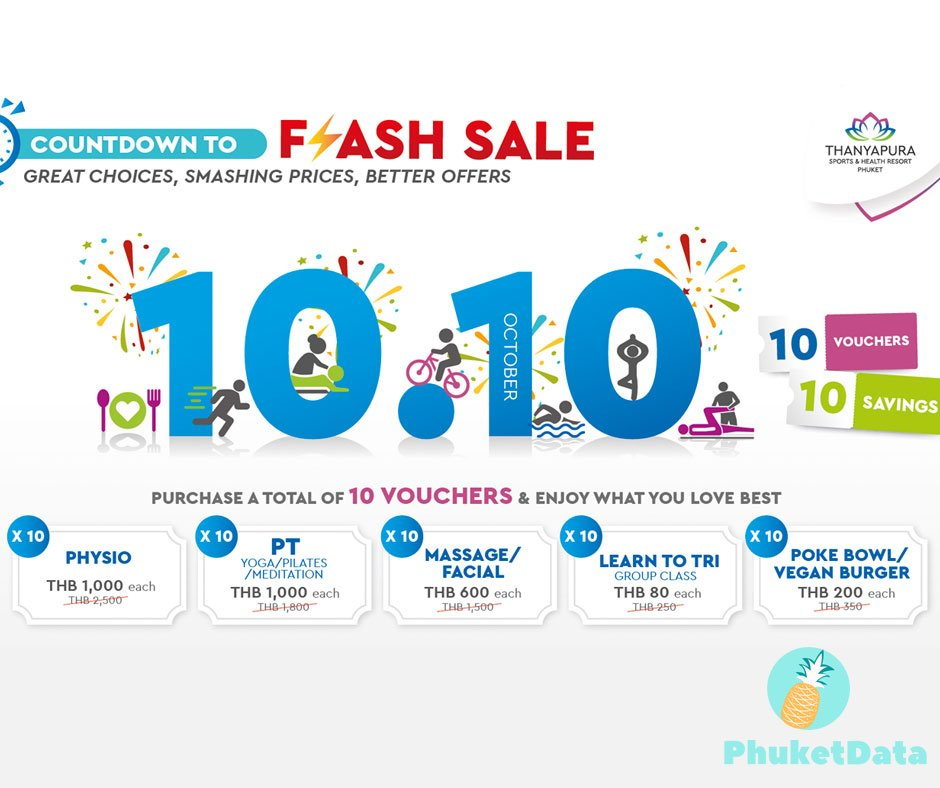 10/10 Flash sale specials at Thanyapura Sports & Health Resort Phuket