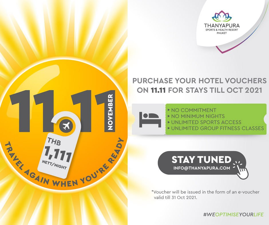 11.11 Flash Sale at Thanyapura Sports & Health Resort Phuket